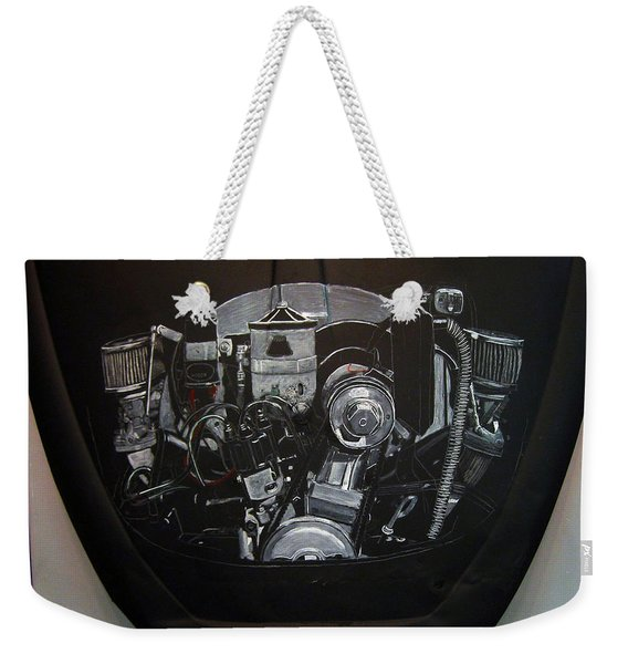 Weekender Tote Bag featuring the painting 356 Porsche Engine On A Vw Cover by Richard Le Page