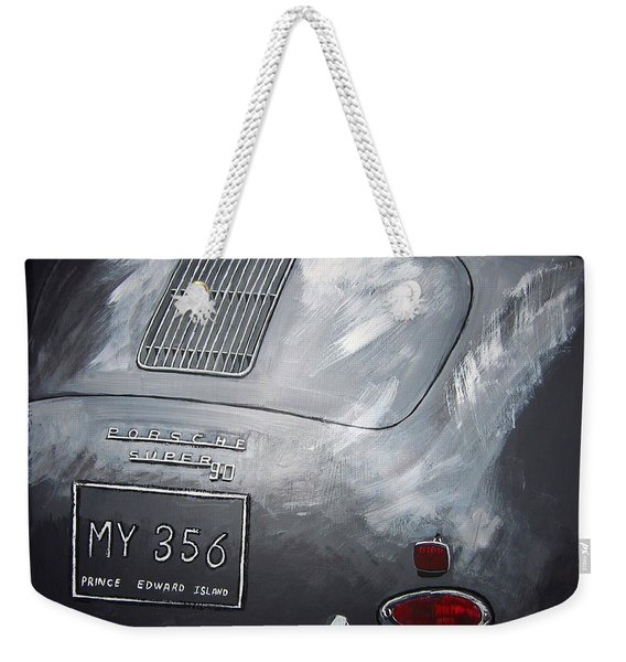 Weekender Tote Bag featuring the painting 356 Porsche Rear by Richard Le Page