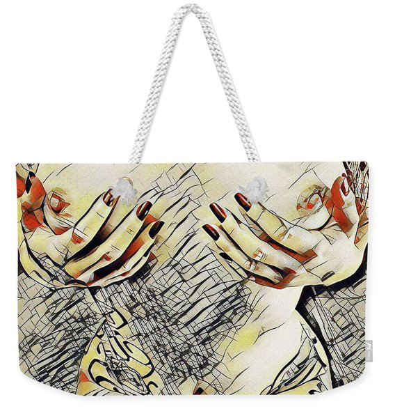 3787s-drl Cupping Her Breasts Erotica In The Style Of Kandinsky Weekender Tote Bag