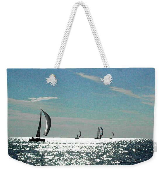 4 Boats On The Horizon Weekender Tote Bag