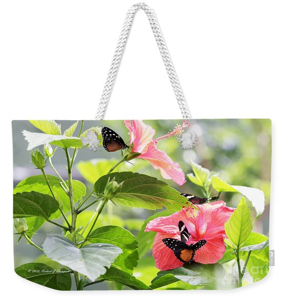 Weekender Tote Bag featuring the photograph Cream-spotted Clearwing Butterfly by Richard J Thompson
