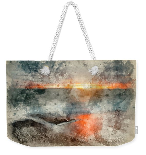 Digital Watercolor Painting Of Beautiful Vibrant Sunset Landscap Weekender Tote Bag