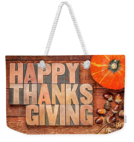Happy Thanksgiving Greeting Card Weekender Tote Bag