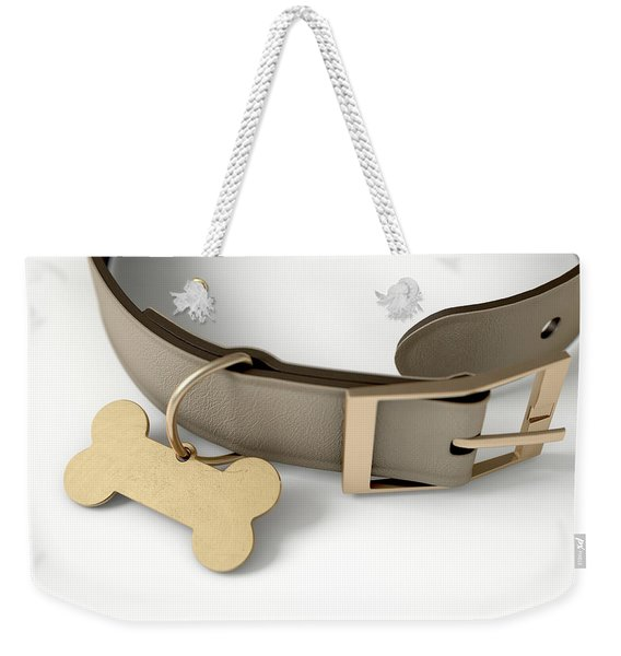 Leather Collar With Tag Weekender Tote Bag