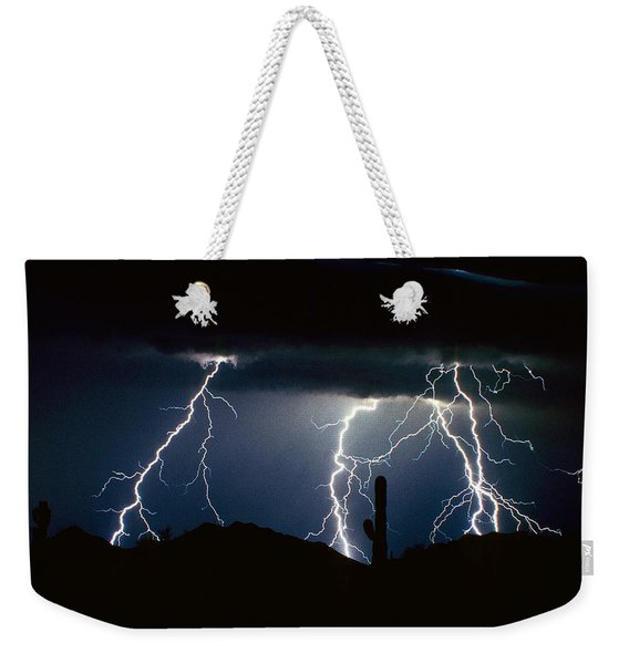 4 Lightning Bolts Fine Art Photography Print Weekender Tote Bag
