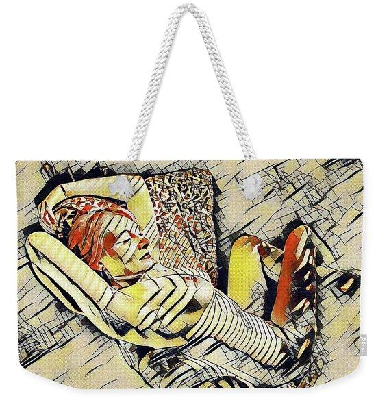 4248s-jg Zebra Striped Woman In Armchair By Window Erotica In The Style Of Kandinsky Weekender Tote Bag