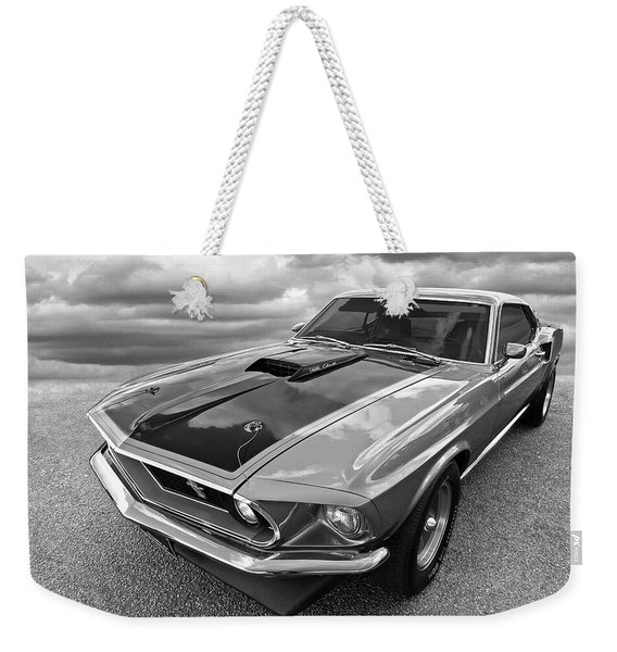 428 Cobra Jet Mach1 Ford Mustang 1969 In Black And White Weekender Tote Bag