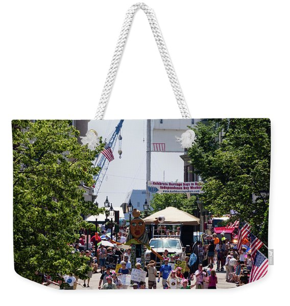 Weekender Tote Bag featuring the photograph 4th Of July Parade, Front Street, Bath, Maine #40142 by John Bald