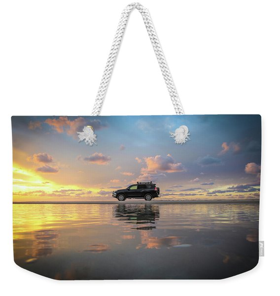 4wd Vehicle And Stunning Sunset Reflections On Beach Weekender Tote Bag