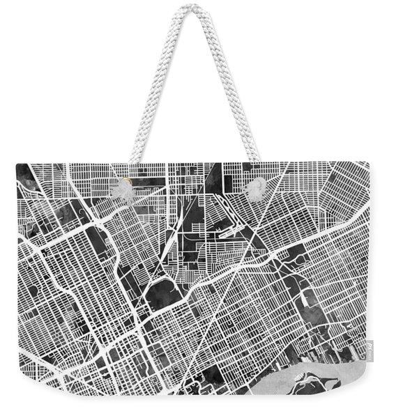 Detroit Michigan City Map Weekender Tote Bag