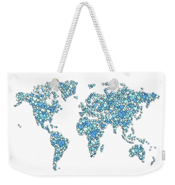 Love Hearts Map Of The World Map Weekender Tote Bag