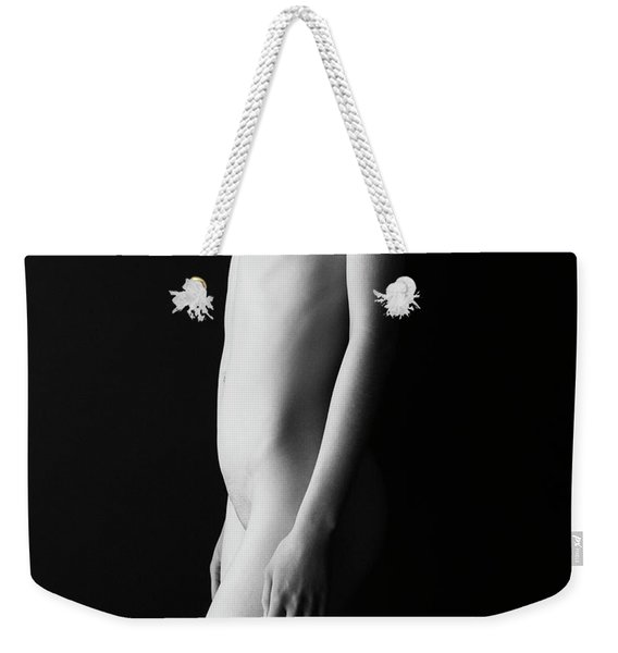 Young Woman In Front Of Black Wall Weekender Tote Bag
