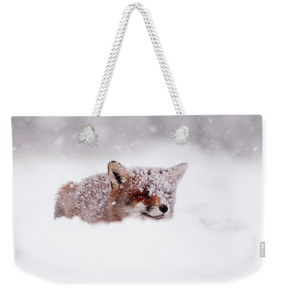 50 Shades Of White And A Touch Of Red Weekender Tote Bag
