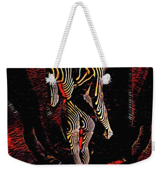 5360s-mak Abstract Zebra Striped Woman Strong Shoulders Weekender Tote Bag