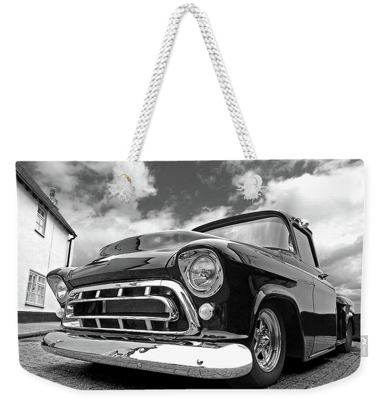 57 Stepside Chevy In Black And White Weekender Tote Bag