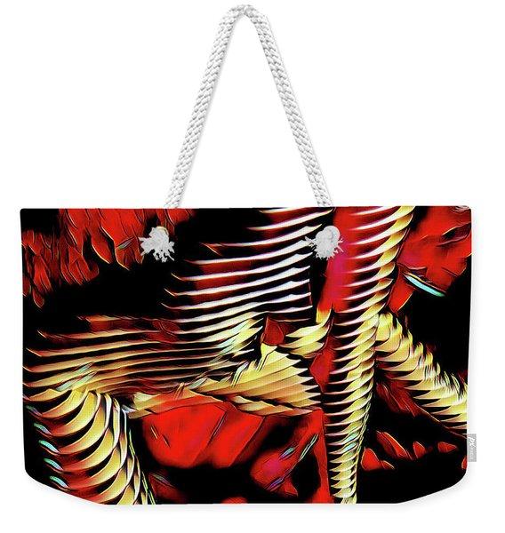 5787s-mak Nude Woman Art Rendered In Red Palette Knife Style Weekender Tote Bag