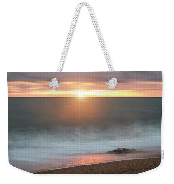 Beautiful Vibrant Sunset Landscape Image Of Burton Bradstock Gol Weekender Tote Bag