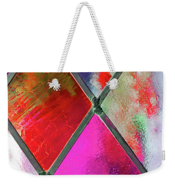 Weekender Tote Bag featuring the photograph Diamond Pane Red by JAMART Photography