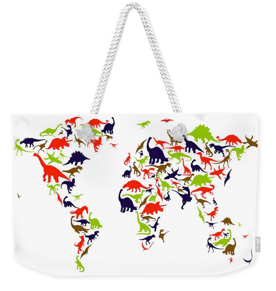 Dinosaur Map Of The World Map Weekender Tote Bag