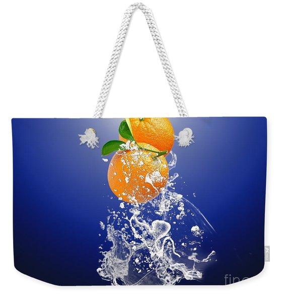 Orange Splash Weekender Tote Bag