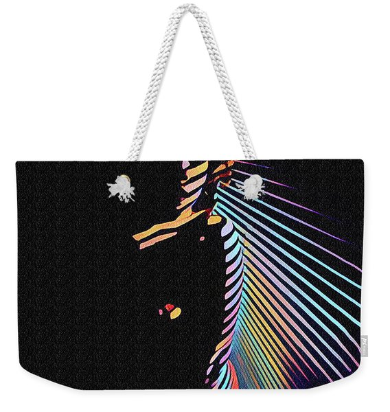 6580s-nlj Woman In Shadows By Window Zebra Striped Rendered In Composition Style Weekender Tote Bag