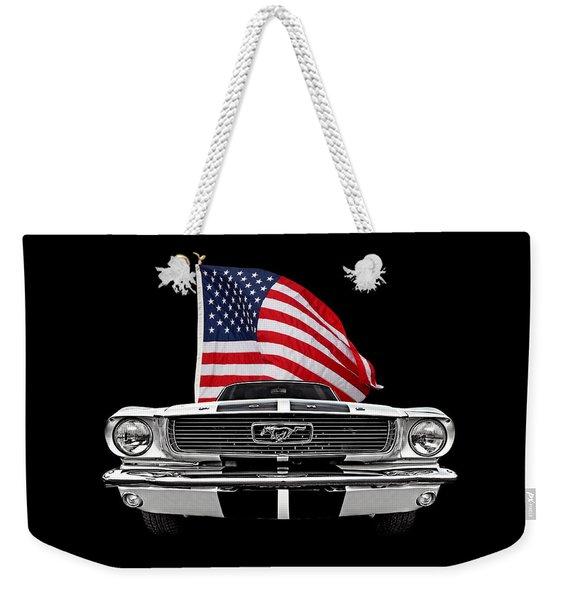 66 Mustang With U.s. Flag On Black Weekender Tote Bag