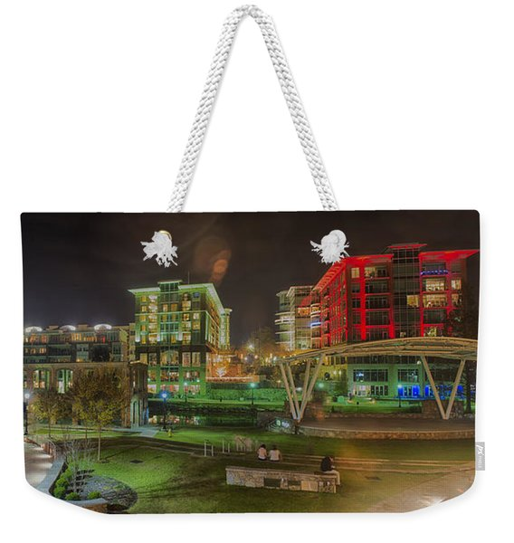 Greenville South Carolina Near Falls Park River Walk At Nigth. Weekender Tote Bag