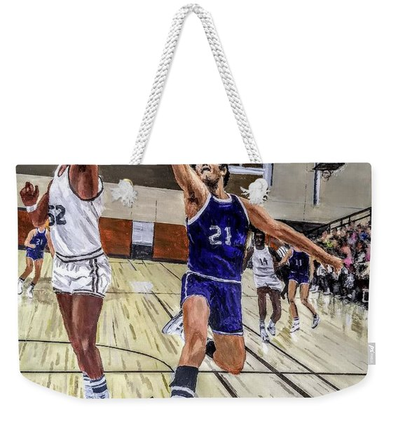 Weekender Tote Bag featuring the painting 70's Layup by Kevin Daly