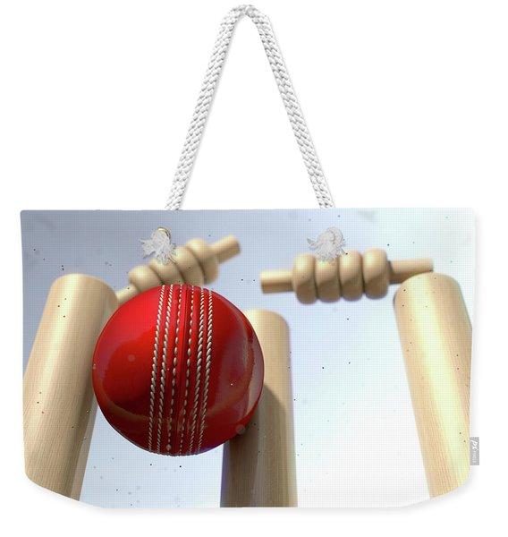 Cricket Ball Hitting Wickets Weekender Tote Bag