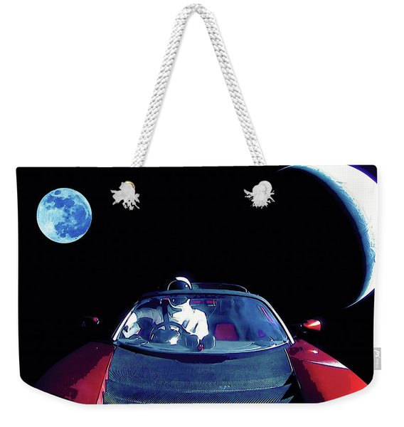 Starman In Tesla Roadster With Planet Earth Traveling In The Space Weekender Tote Bag