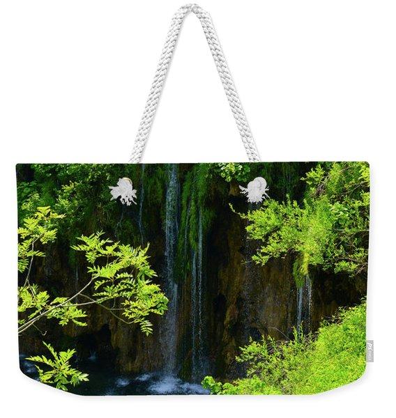 Waterfall In Plitvice National Park In Croatia Weekender Tote Bag