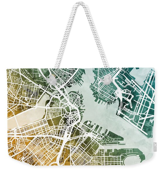 Boston Massachusetts Street Map Weekender Tote Bag