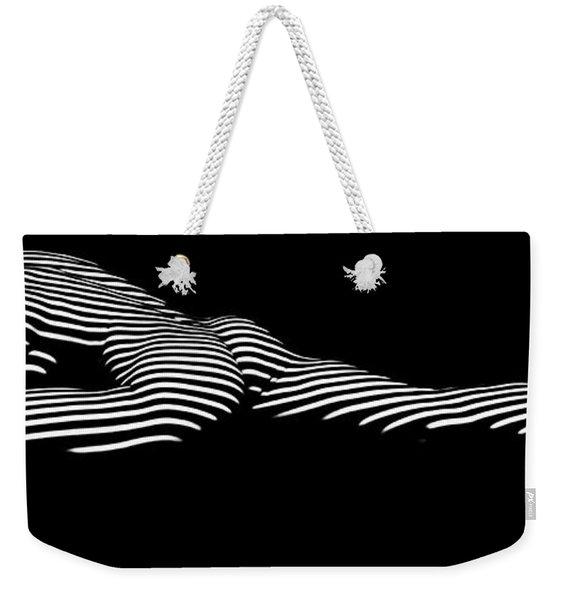 9474 Zebra Stripe Yoga Pigeon Pose Feline Grace Weekender Tote Bag