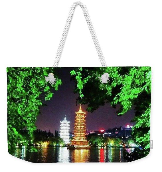 Sun And Moon Pagoda Green Leaves Weekender Tote Bag