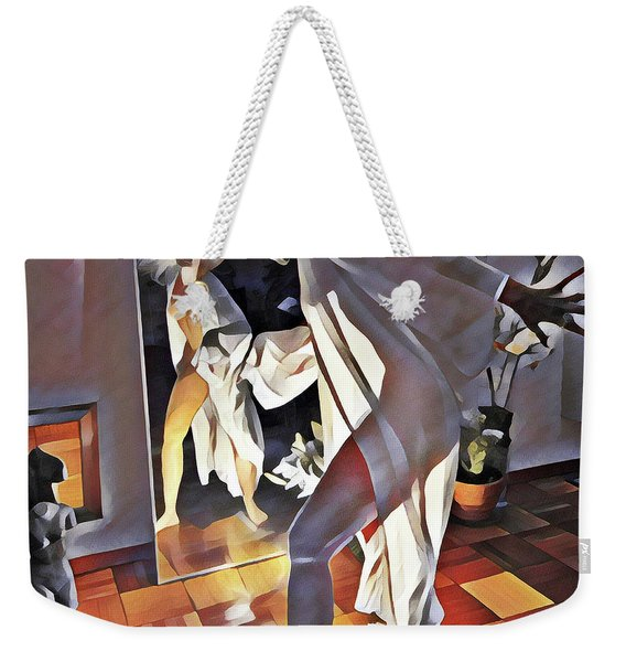 9926s-dm Watercolor Woman In White Confronts Herself In Mirror Weekender Tote Bag