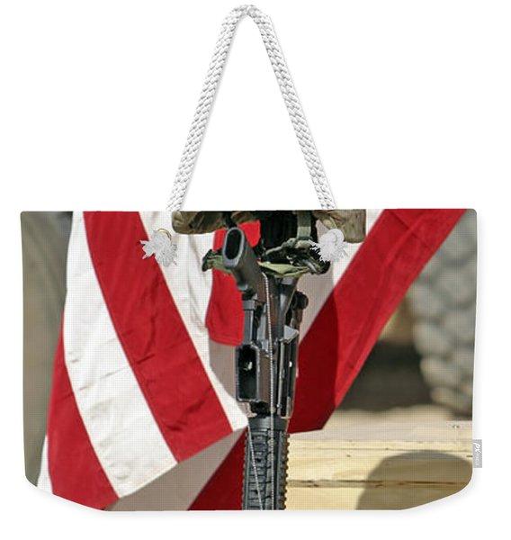 A Battlefield Memorial Cross Rifle Weekender Tote Bag