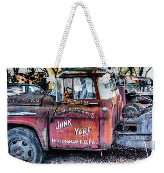 A Beautiful Rusty Old Tow Truck Weekender Tote Bag