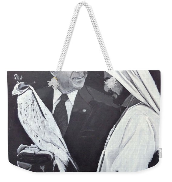 Weekender Tote Bag featuring the painting A Bird In The Hand Is Worth Two In The Bush by Richard Le Page