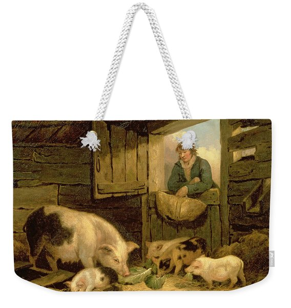 A Boy Looking Into A Pig Sty Weekender Tote Bag