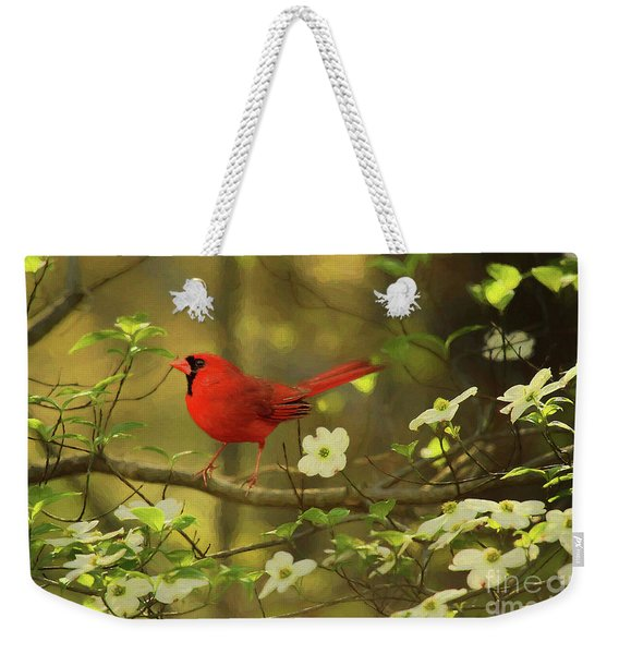 A Cardinal And His Dogwood Weekender Tote Bag