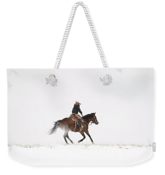 A Chilly Ride Weekender Tote Bag
