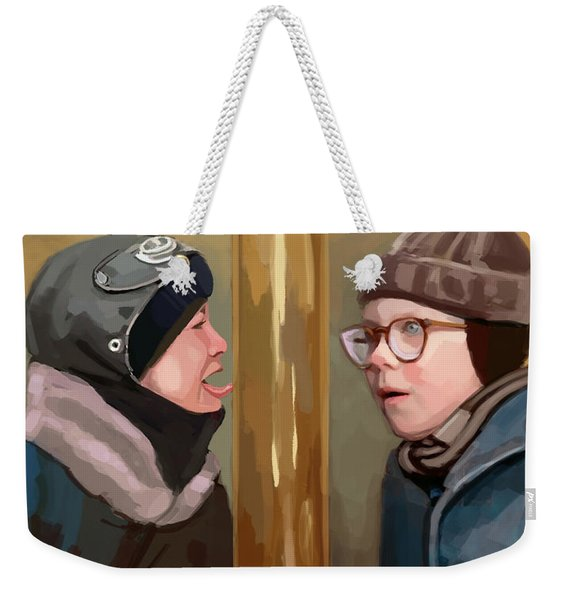 A Christmas Story Tongue Stuck To Pole Weekender Tote Bag