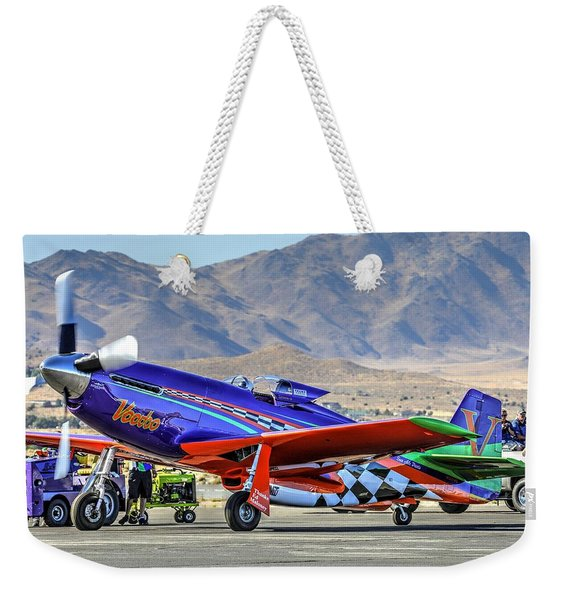 A Closer Look At Voodoo Engine Start Sundays Unlimited Gold Race Weekender Tote Bag