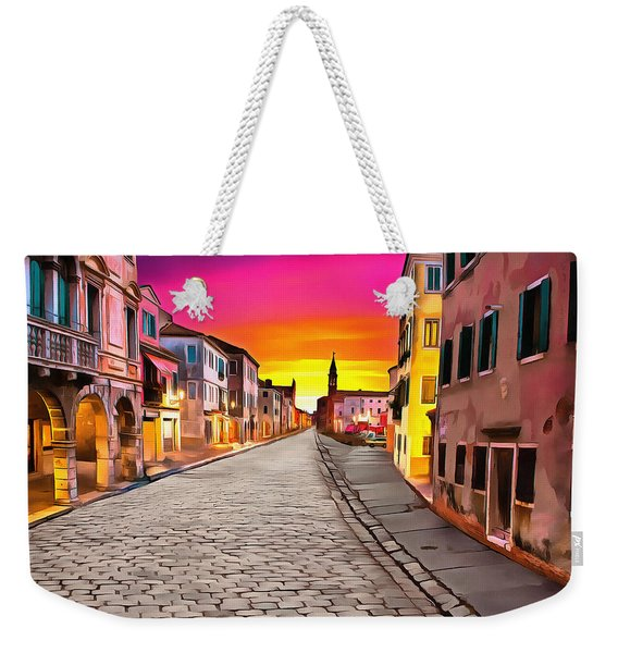 A Cobblestone Street In Venice Weekender Tote Bag