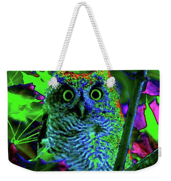 A Cosmic Owl In A Psychedelic Forest Weekender Tote Bag
