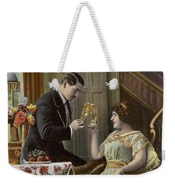 A Couple Toasting Each Other's Wine Glasses Weekender Tote Bag
