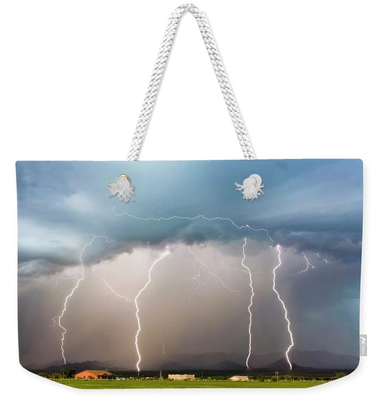 Four Lightning Bolts In The Mountains, Palominas, Arizona Weekender Tote Bag