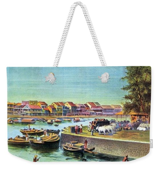 A Day At Singapore - Singapore Harbor - Retro Travel Poster - Vintage Poster Weekender Tote Bag