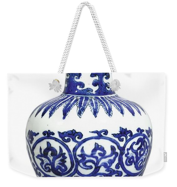 A Fine And Rare Blue And White 'arrow' Vase Mark And Period Of Wanli Weekender Tote Bag