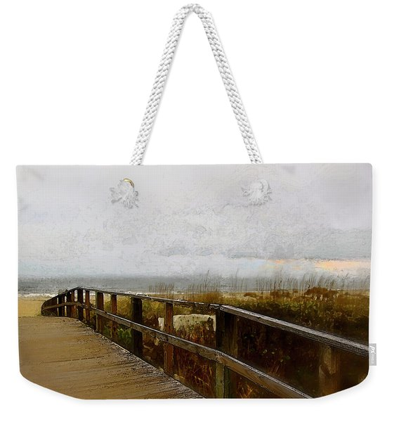 Weekender Tote Bag featuring the digital art A Foggy Day by Gina Harrison